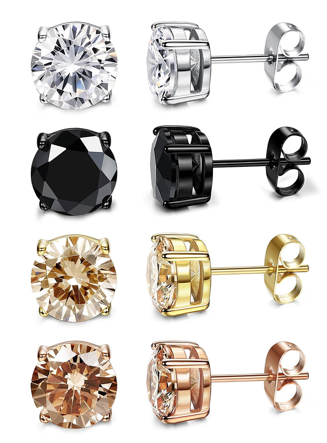4 Pairs Stainless Steel Round Stud Earrings for Men Women Ear Piercing Earrings Cubic Zirconia Inlaid,3-8mm Available