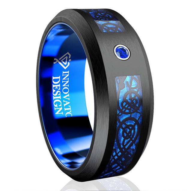 Blue Celtic Dragon Tungsten Wedding Band