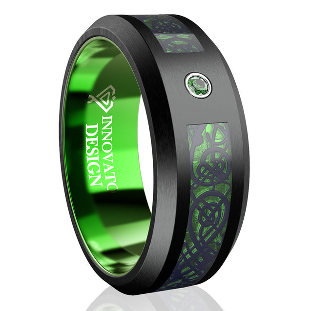 Green Black Tungsten Wedding Celtic Dragon Band