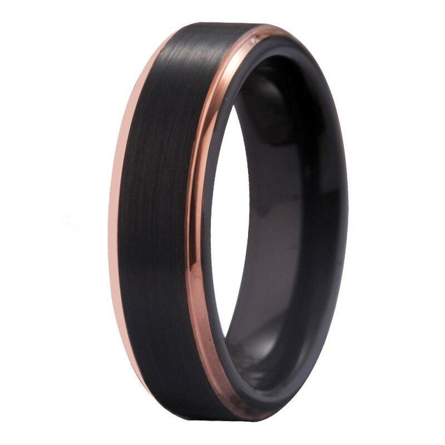 Matte Black with Rose Golden Step Tungsten Wedding Rings