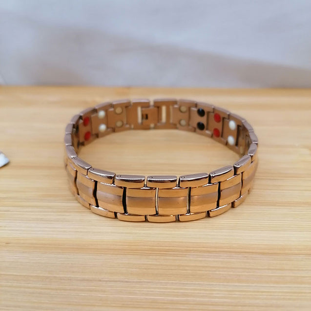 Rose Gold Unisex Magnetic Bracelet with Adjusting Tool