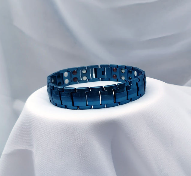 Large Titanium Blue Magnetic Bracelet with Adjusting Tool