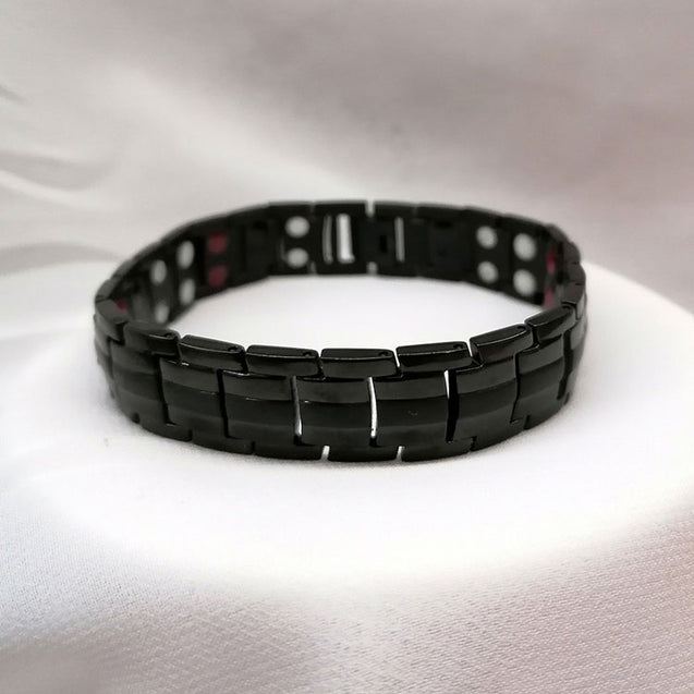 0.78inch Wide Black Germanium Magnetic Bracelet with Adjusting Tool