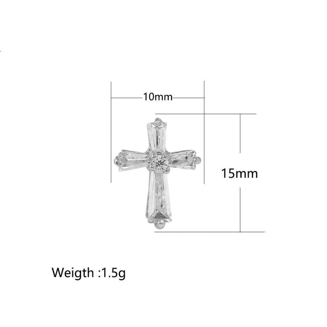 Men's Stainless Steel Stud Earrings Gold Silver Tone Cross - InnovatoDesign