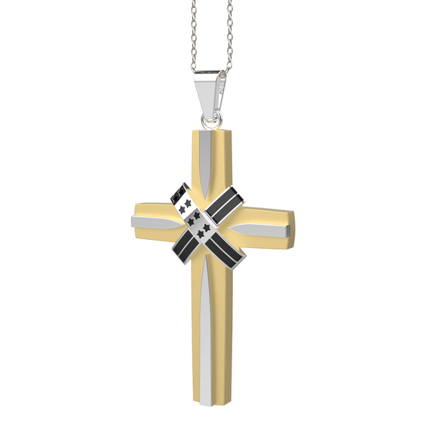 Gold Silver Cross Pendant Necklace USA Flag
