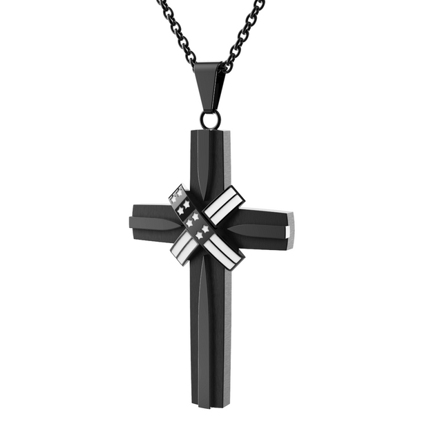 Black and White USA Flag American Cross Necklace