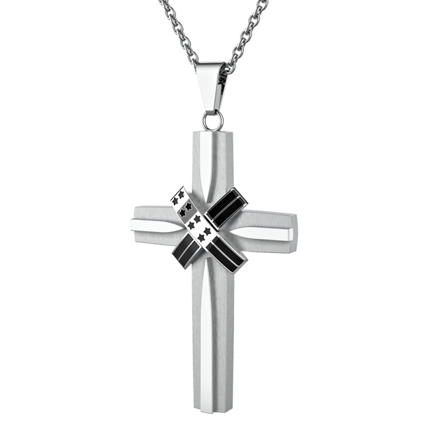 Silver USA American Flag Cross Pendant Necklace