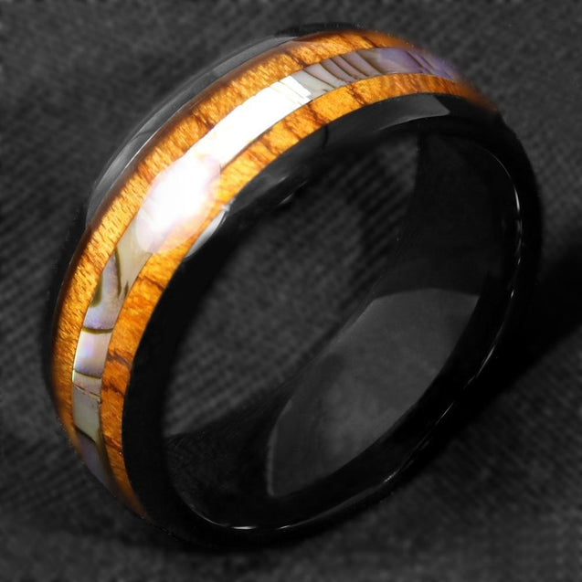 8mm Tungsten Carbide Black Ring with Koa Wood and Abalone Inlay - InnovatoDesign