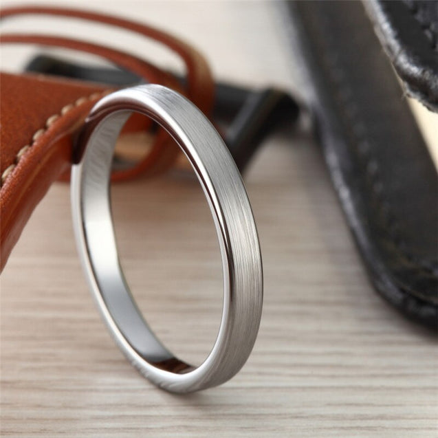 3mm Tungsten Carbide Ring Simple Style Thin Wedding Engagement Promise White Band High Polished