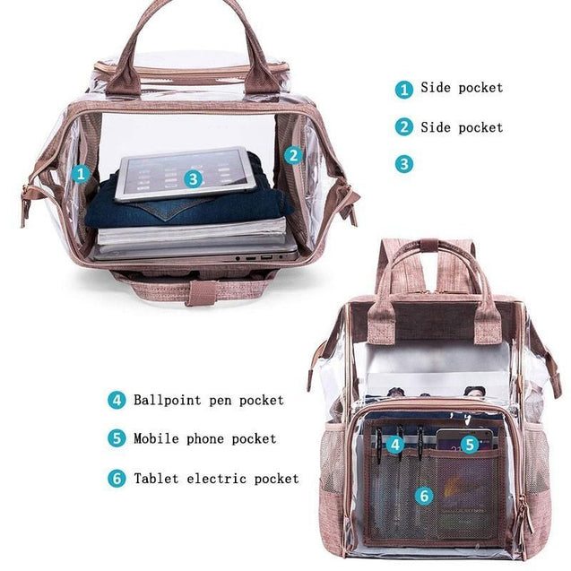 4 Colors Fabric & PVC School Transparent Backpack - InnovatoDesign