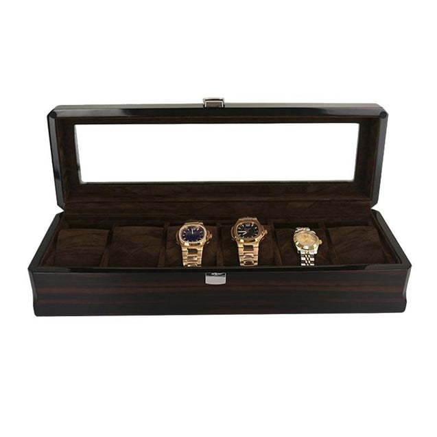 Dark Brown Handmade Wood Watch and Jewelry Storage Box - InnovatoDesign