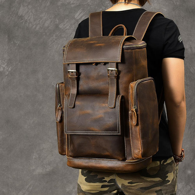 Retro Brown Leather Travel Backpack 36 to 55 Litre for Men - InnovatoDesign