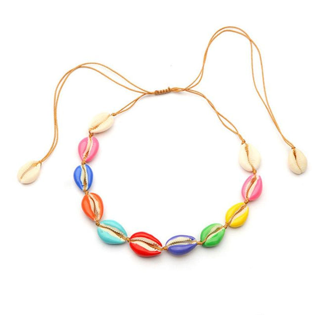 Colorful Puka Shell Adjustable Rope Choker Necklace - InnovatoDesign