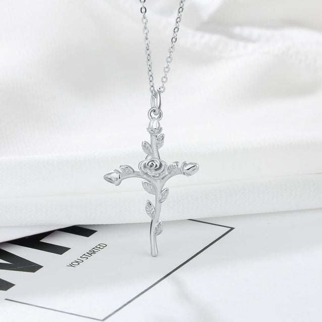 Sterling Silver Rose Stem Cross Pendant and Necklace - InnovatoDesign
