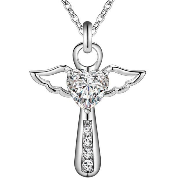 Angelic Sterling Silver Winged Crystal Heart Cross Pendant Necklace - InnovatoDesign
