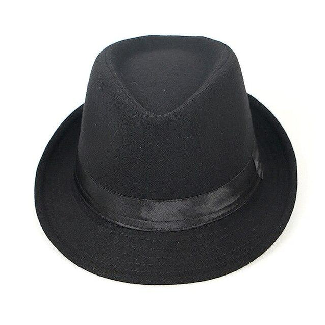 Vintage Wool Felt Trilby Fedora Hat with Black Hatband
