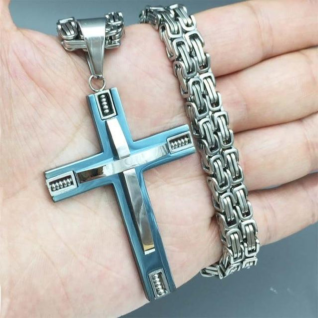 Stainless Steel Cross Pendant with Byzantine Link Necklace - InnovatoDesign