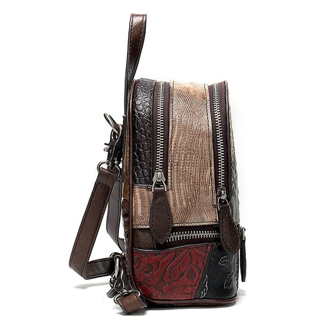 Mini Backpack with Embossed Floral Patterns on Leather Patchwork Design - InnovatoDesign