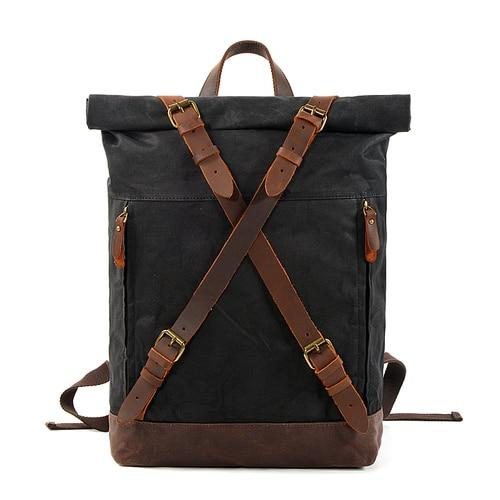 Waxed Hard Canvas Leather Waterproof 15 Inch Laptop Backpack - InnovatoDesign