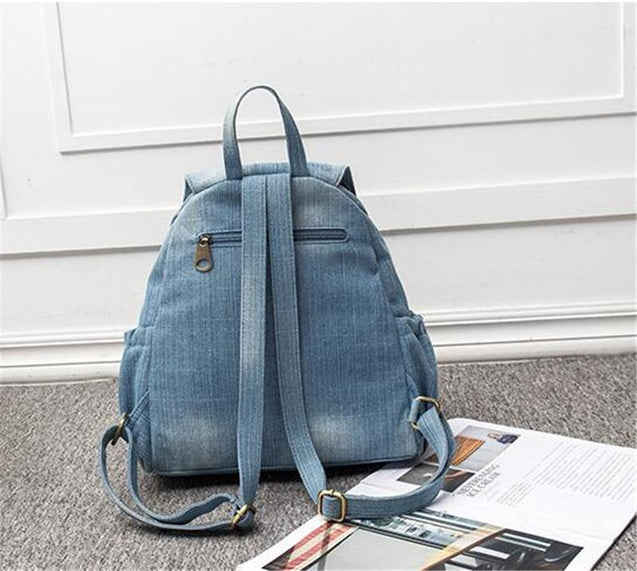 Big Blue Denim Canvas Travel Backpack - InnovatoDesign