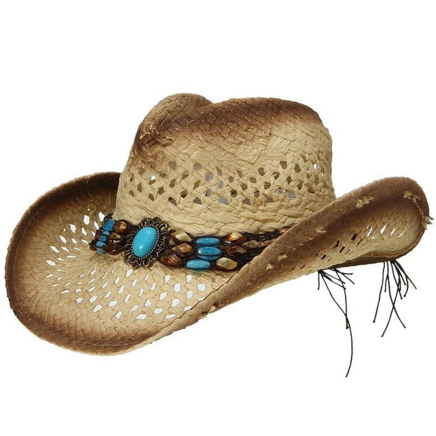 Summer Straw Cowboy Hat with Turquoise Brooch and Shell-like Beads