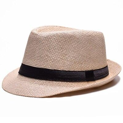 Solid Color Straw Trilby Hat with Black Hatband