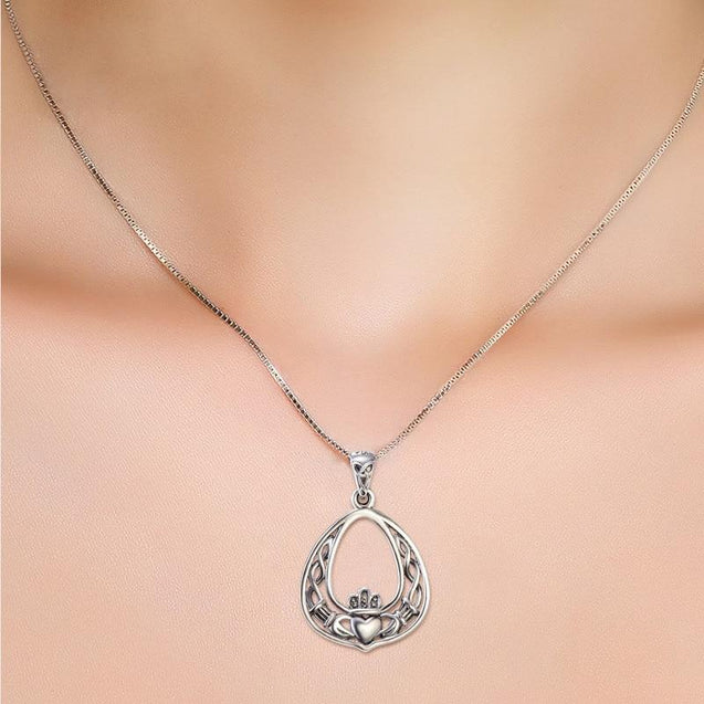 "925 Sterling Silver Claddagh Pendant Necklace with 18"" Chain - InnovatoDesign"
