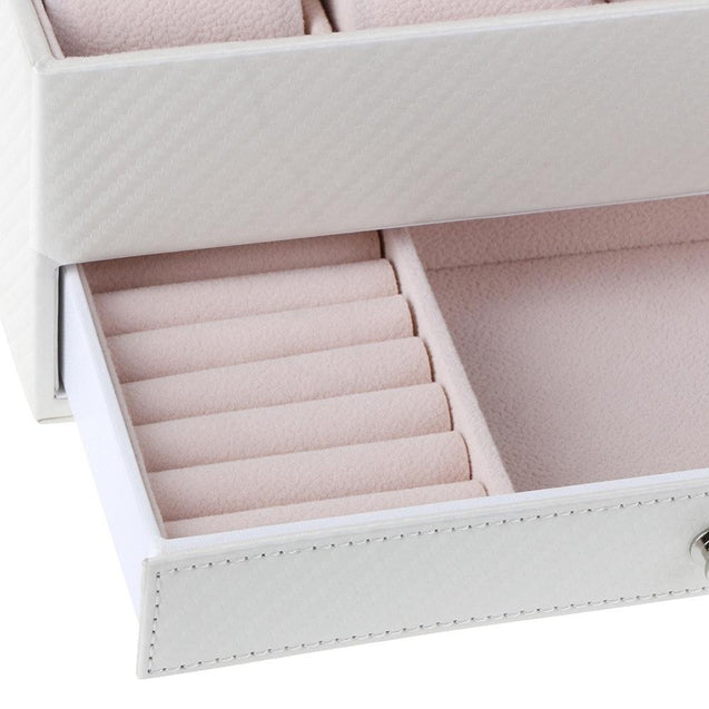 White Leather Watch and Jewelry Storage Box - InnovatoDesign