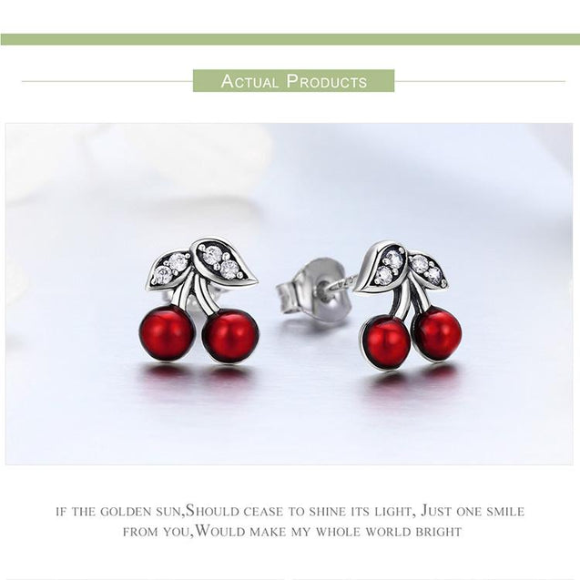 925 Sterling Silver Red Cherry Stud Earrings with Zirconia Crystal