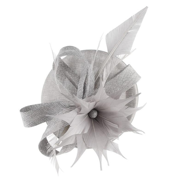 Hair Clip Flower Pillbox Fascinator Hat with Feathers