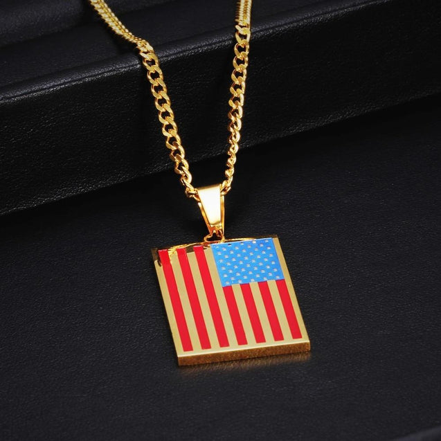 Flat Metallic USA Flag Pendant with Chain Necklace - InnovatoDesign