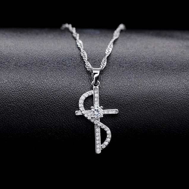 Cubic Zirconia Silver Cross with Wave Accent Necklace - InnovatoDesign
