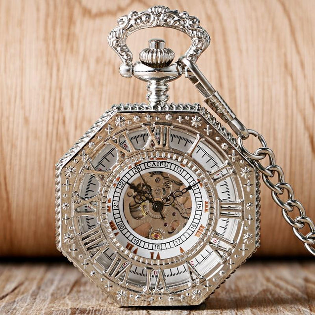 Silver Octagon Pocket Watch with Roman Numeral Carvings and Visible Gear Skeleton - InnovatoDesign