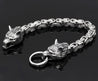 Norse Wolf Heads Viking Bracelet with Byzantine Chain - InnovatoDesign