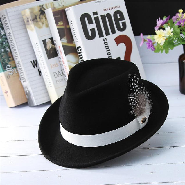Black European Style Curved Brim Wool Felt Fedora Trilby Hat with Feathers on White Hatband