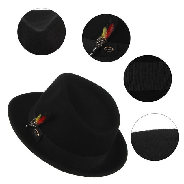 Trilby Fedora Hat with Multicolored Feather on Black Hatband