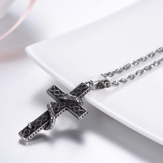 Snake Entwined Around Cross Pendant with Link Chain Necklace - InnovatoDesign
