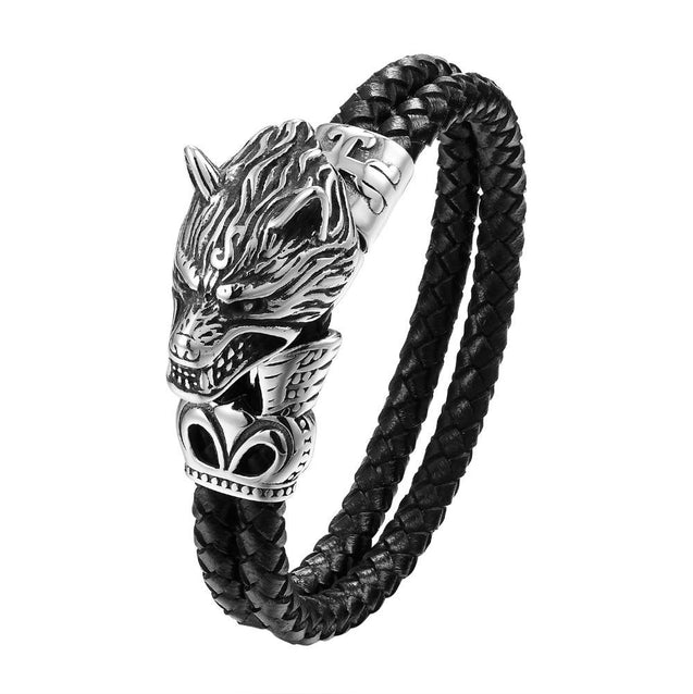 Titanium Steel Wolf Head Leather Bracelet - InnovatoDesign