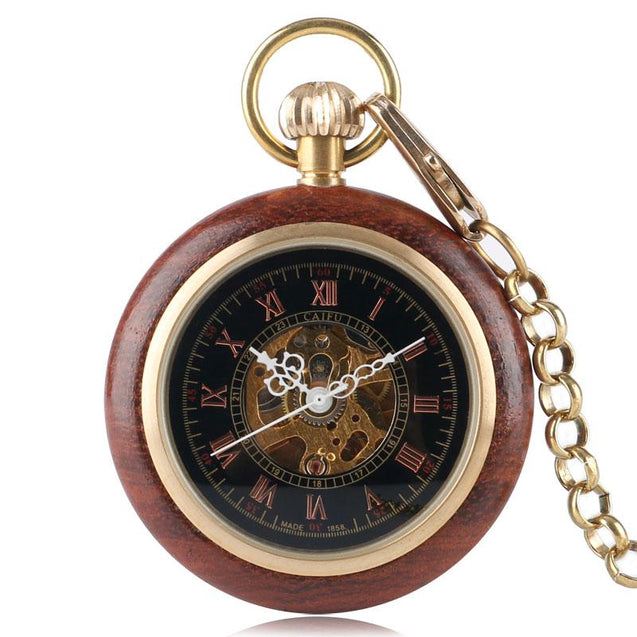 Vintage Gold & Red Wood Pocket Watch with Roman Numbers - InnovatoDesign