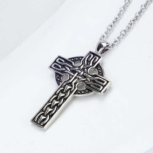 Vintage Celtic Cross 316L Stainless Steel Pendant Necklace - InnovatoDesign