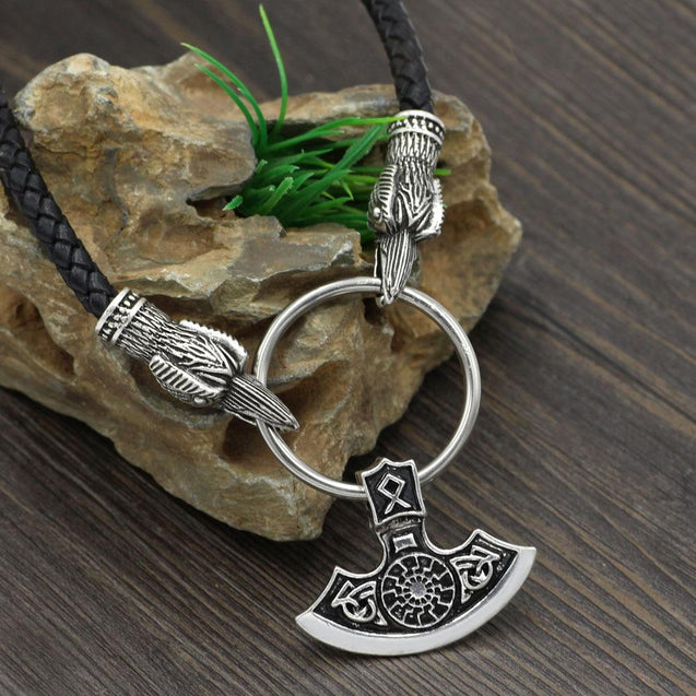 Odin's Raven with Thor's Hammer Pendant Chain Necklace - InnovatoDesign