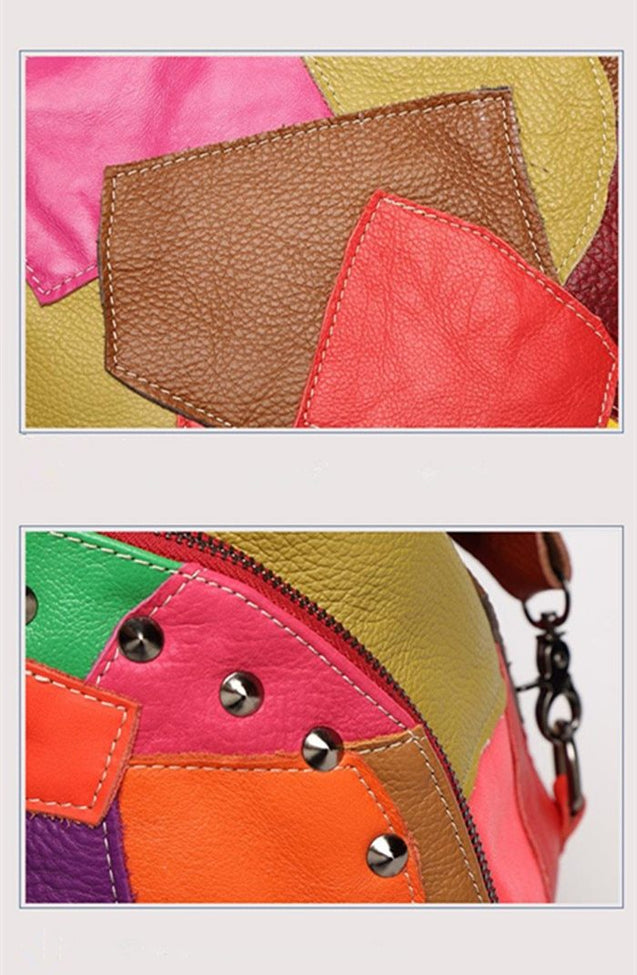 Genuine Leather Bag with Patchwork Design MultiColor and Black - InnovatoDesign