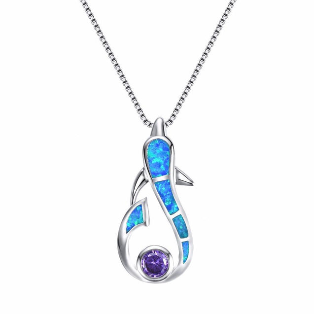 925 Sterling Silver Dolphin Opal Gemstone Pendant and Chain Necklace - InnovatoDesign