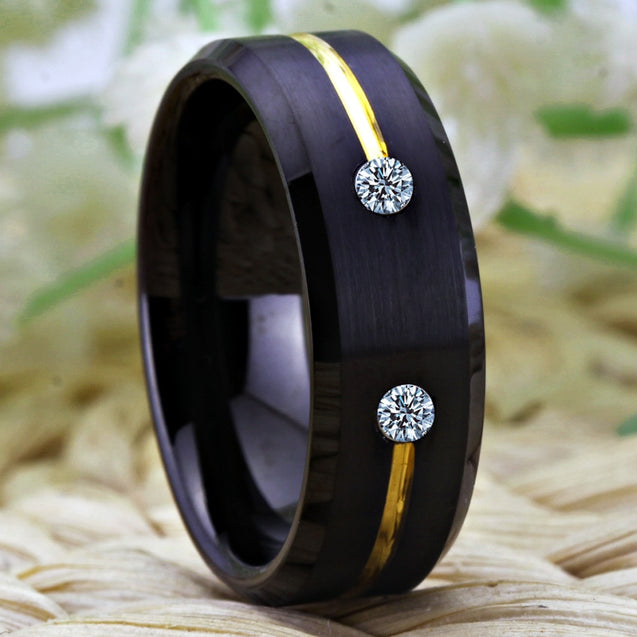 8mm Classic Golden Groove with Cubic Zirconia Inlay Tungsten Wedding Band