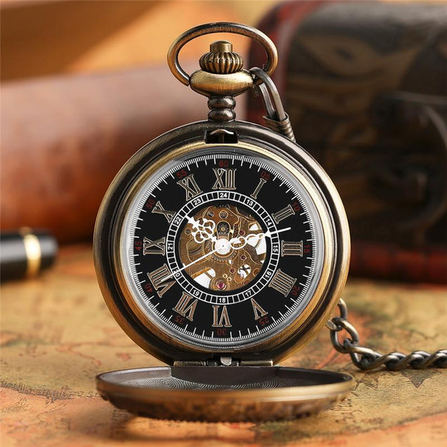 Vintage Bronze Pocket Watch with Floral Carving and Black Resin Interior Face Dial - InnovatoDesign