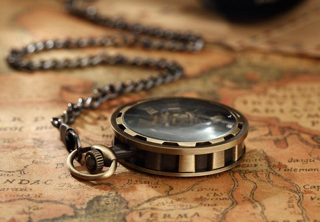 Steampunk Vintage Steel Pocket Watch in Black, Gold, and Silver - InnovatoDesign