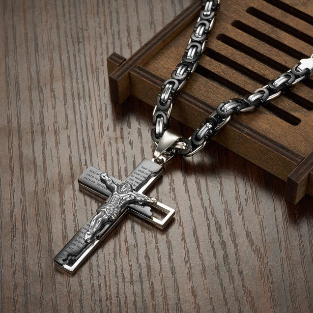 Men's Stainless Steel Two-Tone Jesus Cross Pendant on Byzantine Chain Necklace - InnovatoDesign