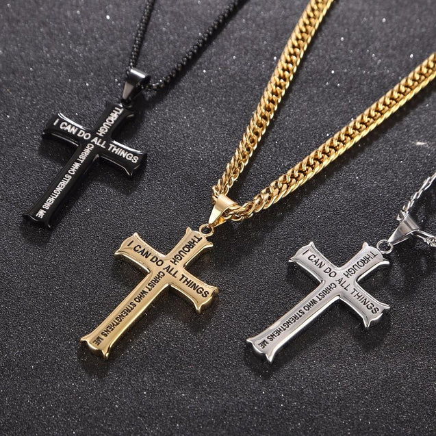 Men's Gold/Silver Stainless Steel Cross Pendant Necklace with Bible Verse - InnovatoDesign