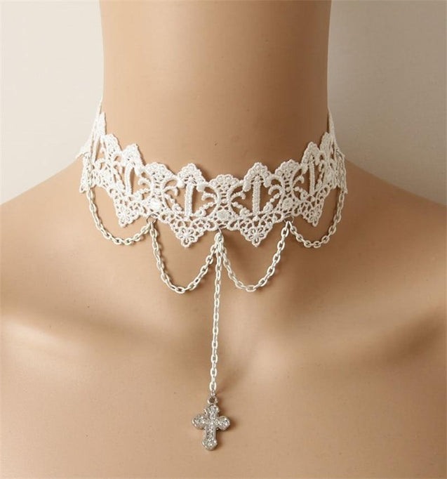While Laced Cross Pendant Choker Necklace - InnovatoDesign