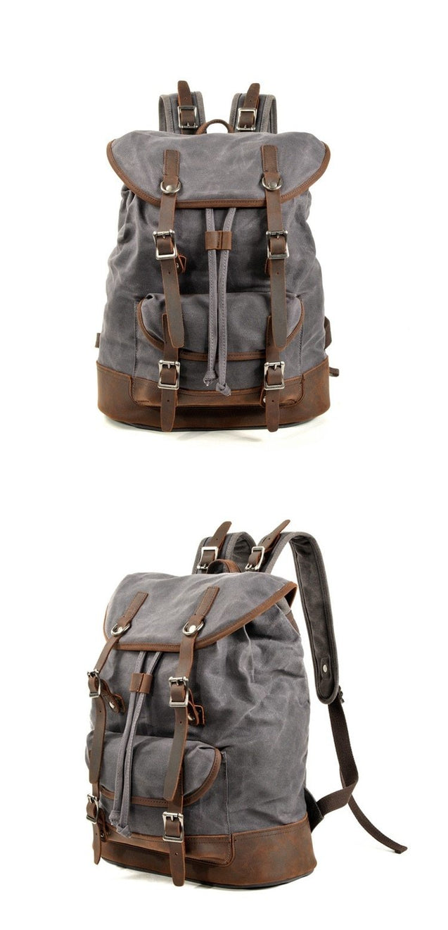 Canvas Leather European Vintage Backpack 20 to 35 Litre with String - InnovatoDesign